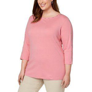 Women's Studded Trim Boat Neck 3/4 Sleeves Shirt